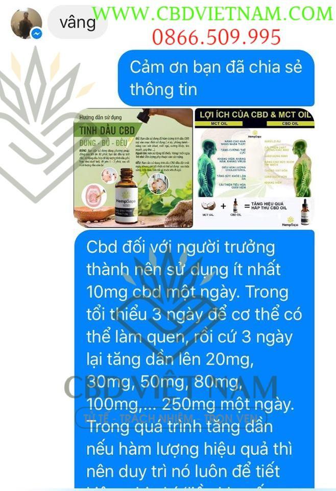 Khách hàng dùng tinh dầu CBD cải thiện bệnh Gout giảm đau, giảm khó chịu, giảm mất ngủ