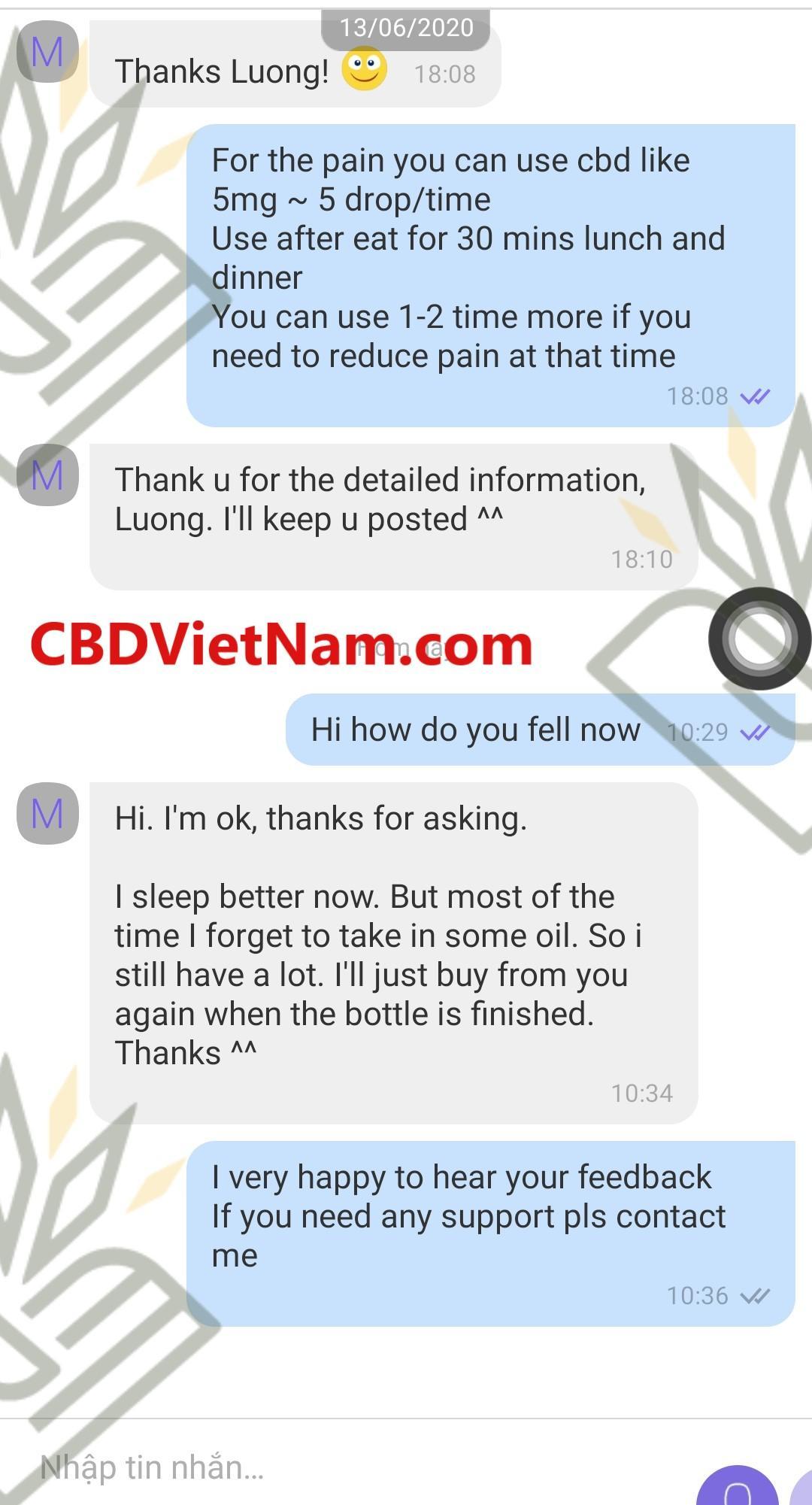 Những phản hồi của khách hàng mất ngủ với CBD